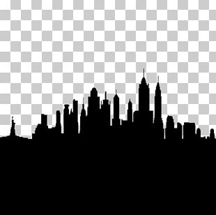 New York City Skyline Silhouette Drawing PNG