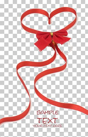 Red Ribbon Heart Love Valentine's Day PNG