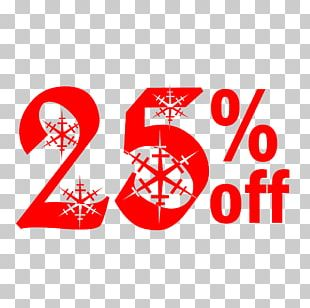 Snow Christmas Sale 25% Off Discount Tag. PNG