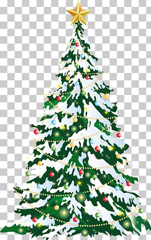 Large Deco Christmas Tree Art PNG