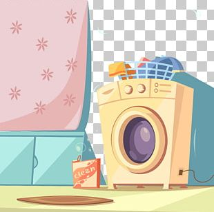 Washing Machine Cartoon Poster PNG