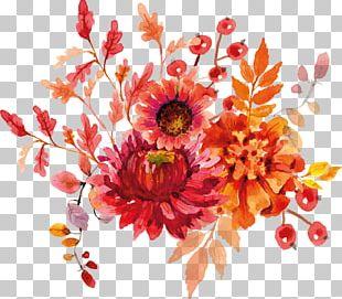Cut Flowers Watercolor Painting PNG