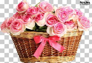 Basket Rose Flower Bouquet Pink PNG