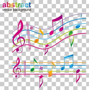 Musical Note Color Staff Sheet Music PNG