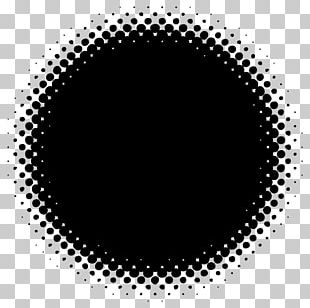 Black And White Halftone Circle Color Gradient PNG