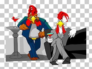 Cocktail Chicken Cartoon Illustration PNG