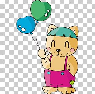 Cat Cartoon Balloon Illustration PNG