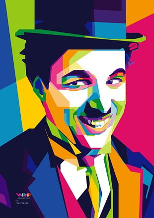 Charlie Chaplin Painting Poster Canvas Film PNG