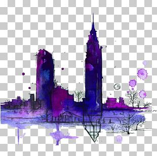 New York City Watercolor Painting Drawing Skyline PNG