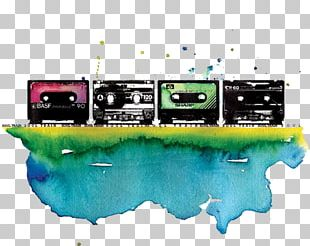 Compact Cassette Watercolor Painting Magnetic Tape PNG