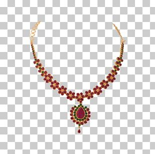 Earring Jewellery Necklace Ruby Gold PNG