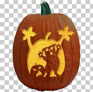 Jack-o'-lantern Cat Carving Pumpkin Stencil PNG