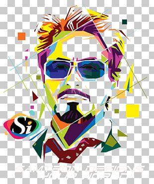 Robert Downey Jr. Iron Man Pop Art Portrait PNG