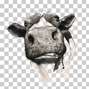 Cattle Drawing Watercolor Painting PNG