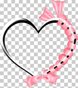 Pink Heart Black And White PNG
