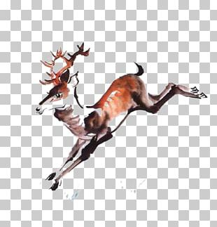 Red Deer Ink Wash Painting PNG