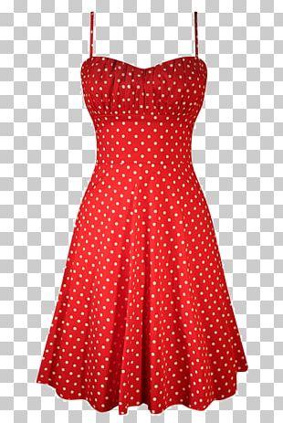 1950s Polka Dot Dress Clothing Skirt PNG