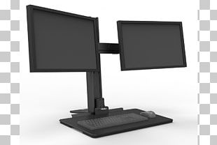 Sit-stand Desk Computer Monitors Workstation Point Of Sale PNG