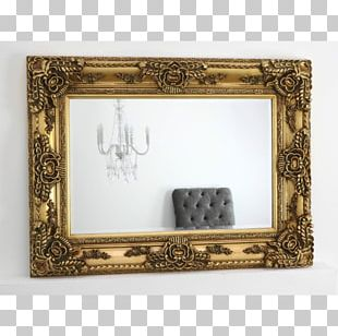 Frames Mirror Gold Rectangle PNG