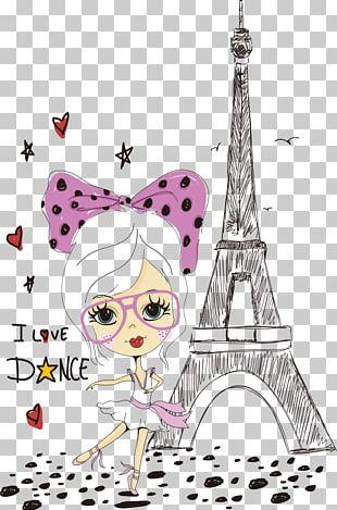 Eiffel Tower Cartoon Tourism In Paris Illustration PNG
