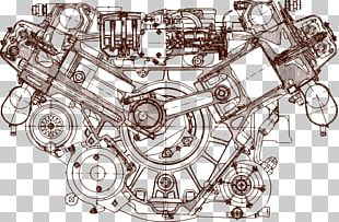 Engine Blueprint Car Drawing PNG