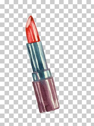 Lipstick Make-up Watercolor Painting PNG