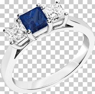 Sapphire Engagement Ring Diamond Brilliant PNG