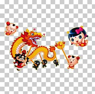 Dragon Dance Lion Dance Chinese New Year Chinese Dragon Cartoon PNG