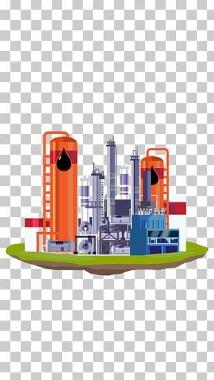 Petroleum Oil Refinery Cartoon Illustration PNG