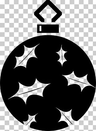Silhouette Christmas Ornament Black And White PNG