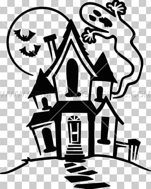 Drawing Haunted House Line Art PNG