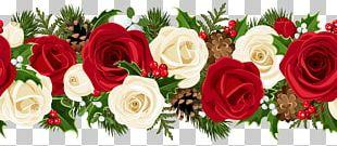 Rose Christmas Flower Garland PNG