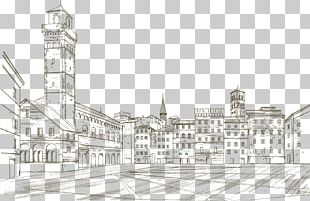Facade Middle Ages Arch Building Sketch PNG