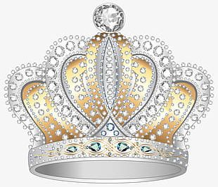 Hand-painted Silver Diamond Crown PNG