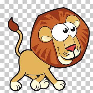 Lion Cartoon Animals Card PNG