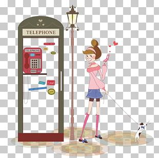 Telephone Booth Cartoon Illustration PNG