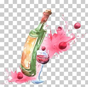 Red Wine Champagne Wine Cocktail Watercolor Painting PNG