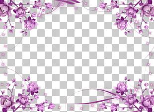 Wedding Invitation Frame Flower Purple PNG