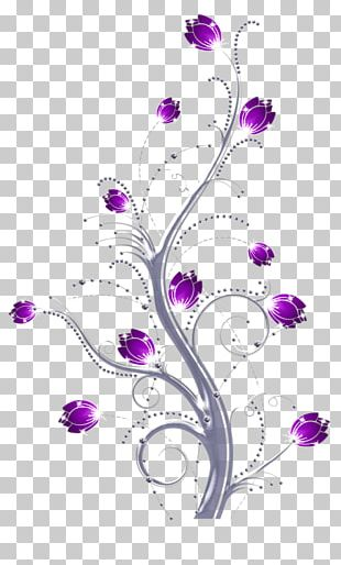 Purple Flower Art Floral Design PNG