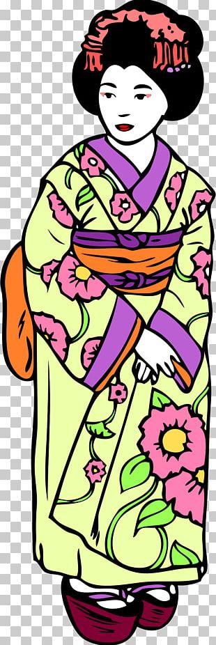 Geisha Japanese Art Drawing PNG