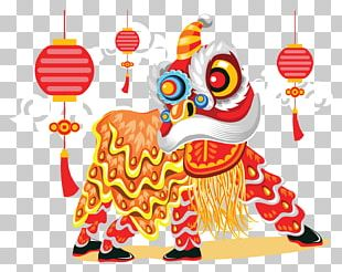 Lion Dance Chinese New Year Illustration PNG
