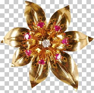 Brooch Jewellery Ruby Gold Gemstone PNG