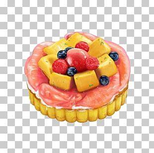 Fruitcake Tart Dessert Watercolor Painting PNG