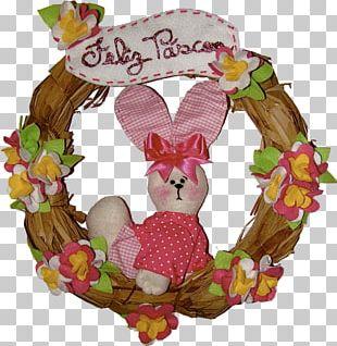Easter Bunny Floral Design Wreath Garland PNG