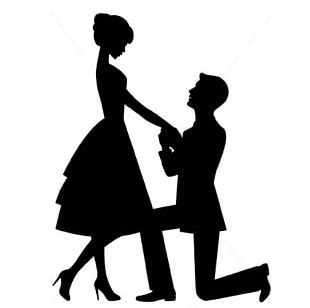 Marriage Proposal Engagement Wedding Cake Topper Silhouette Romance PNG