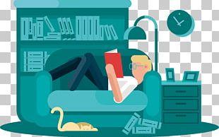 Reading Book Cartoon Illustration PNG