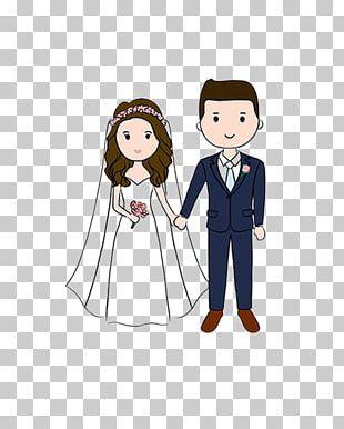 Wedding Invitation Cartoon Drawing Couple PNG