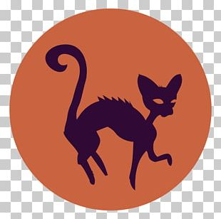 Whiskers Cat Silhouette Halloween Drawing PNG
