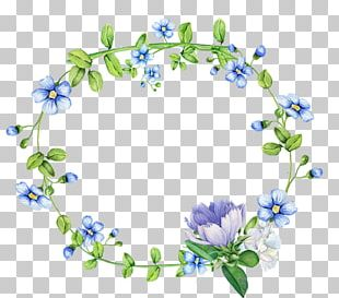 Blue Flowers Wreath Border PNG