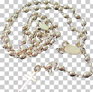 Rosary Gold Crucifix Miraculous Medal Bead PNG